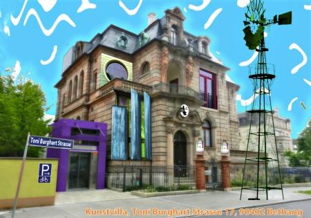 Bild: Von Karsten Neumann gestaltete Kunstpostkarte für das Museumsfest der Kunstvilla.